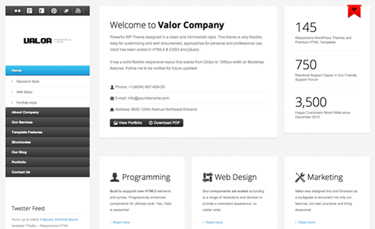 Valor responsive WordPress Theme