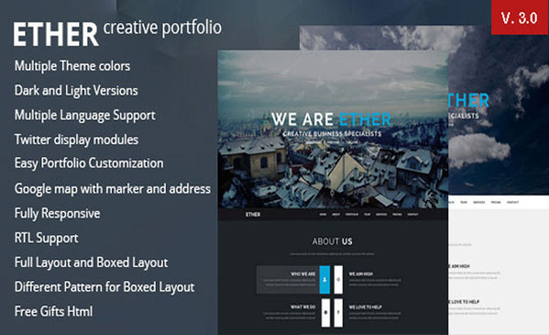 Ether One Page Multipurpose Joomla Template