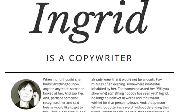 ingrid zenarola copywriter