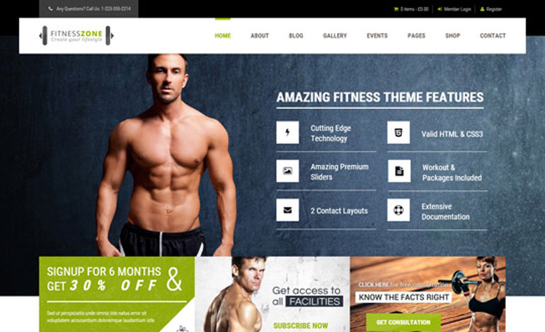 Fitness Zone Sports Health Gym Fitness Theme