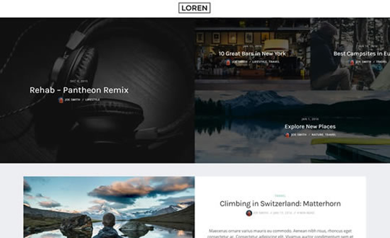 Loren Personal News WordPress Blog Theme