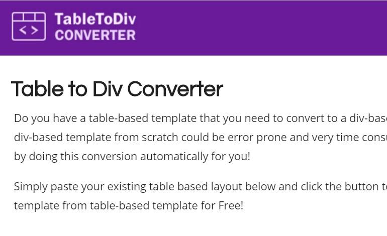 Table to Div Converter- CSSLight