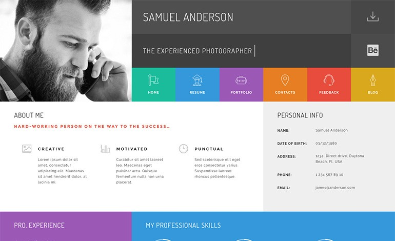 Gridus VCard CV Resume WordPress Theme  Wordpress Resume Themes