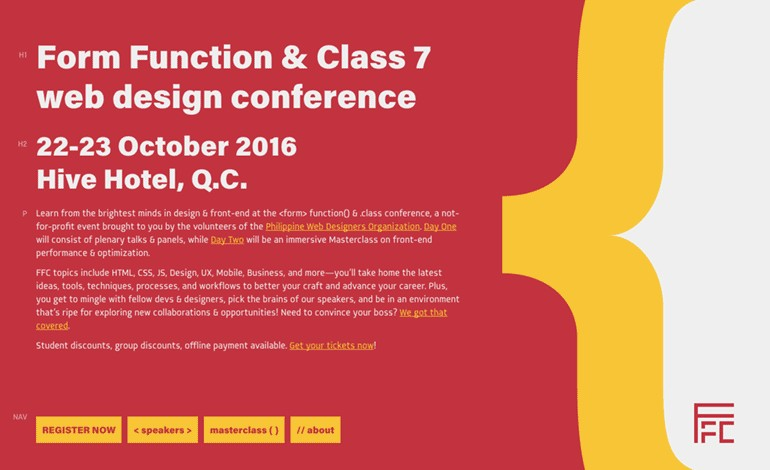 Form Function and Class 7 web design conference
