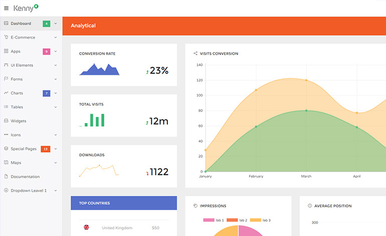 Kenny Dashboard Admin Site Responsive Template