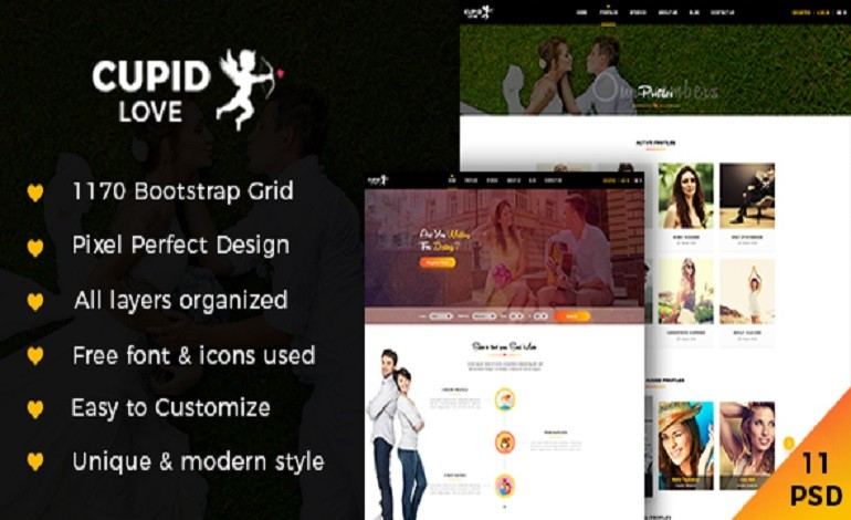 CUPID LOVE Dating Website PSD Template