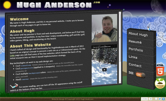 Hugh Anderson .com 3D Website