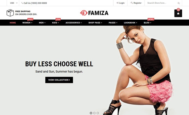 Famiza Clean and Modern Sectioned Shopify Theme