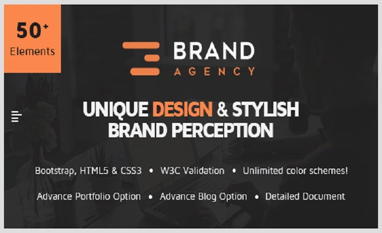 Brand Agency One Page HTML Bootstrap Template for Agency Startup Corporate Business