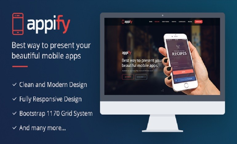 Appify Multipurpose One Page Mobile App landing page HTML