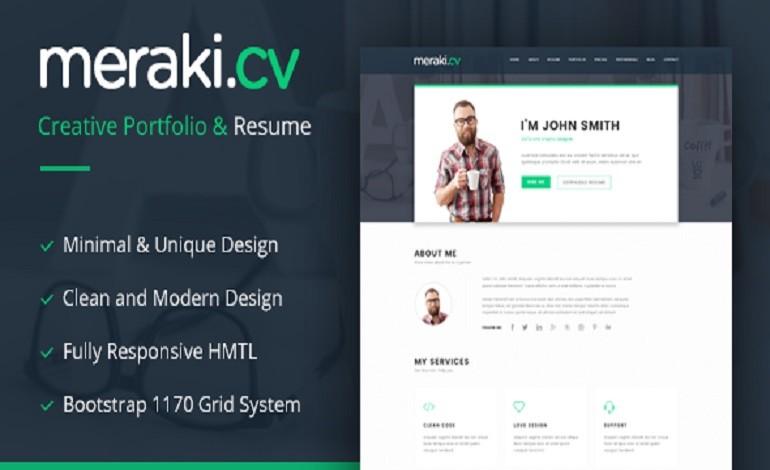 Meraki One Page Resume WordPress Theme