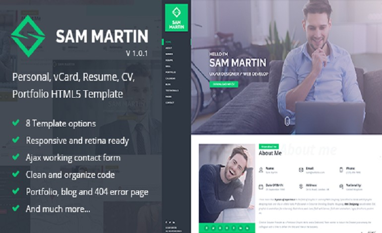 Buy The Sam Martin  Personal vCard Resume HTML Template