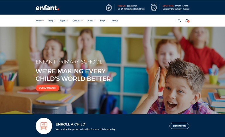Enfant School and Kindergarten WordPress Theme