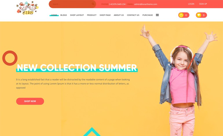 Kids WP Theme for Baby shop and Kids store