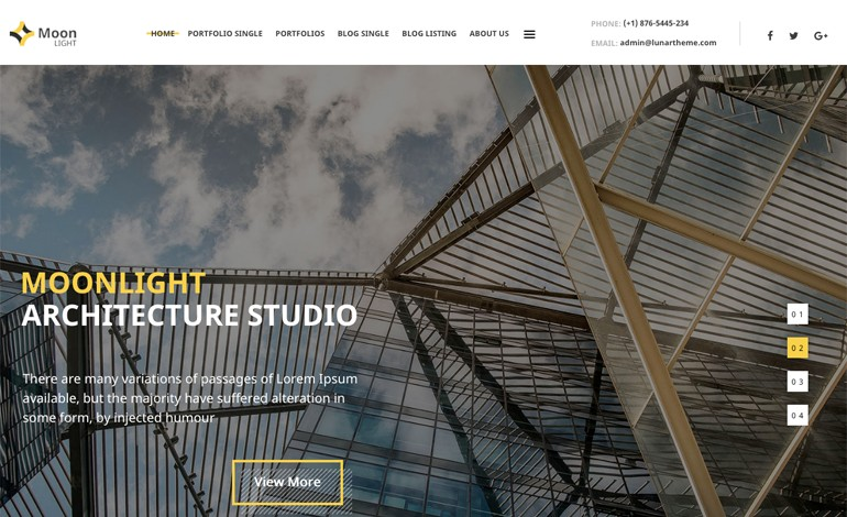 Moonlight Architecture WordPress Theme