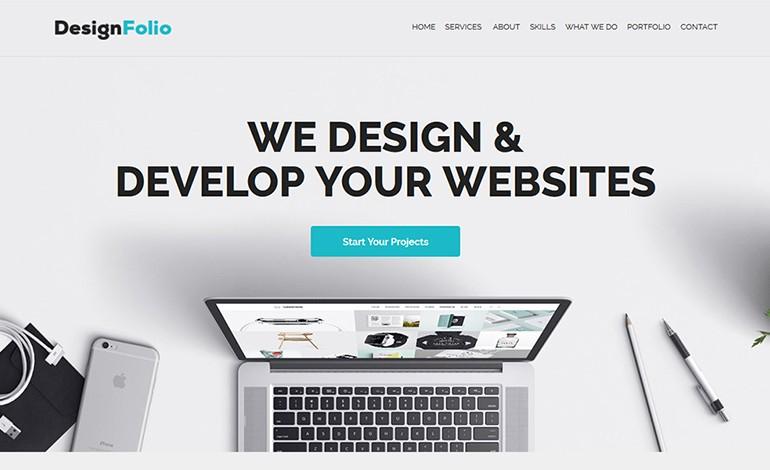 designFolio Responsive One Page Adobe Muse Template