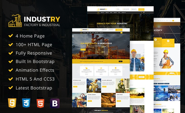 Industry Factory HTML Mobile Responsive Template For Business