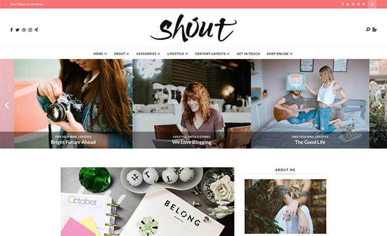Shout Blogging WordPress Theme