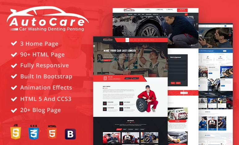 AutoCare Car Service  Car Washing and Html Template