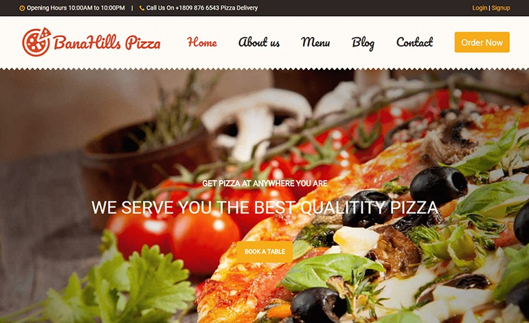 BanaHills Pizza Restaurant Template