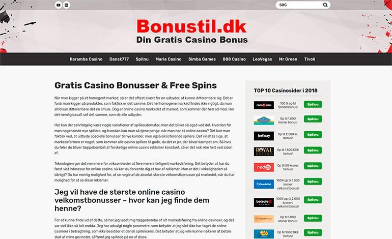 Bonustil Dansk casino bonus guide