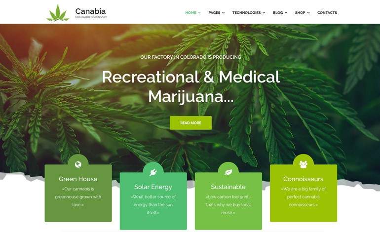 Canabia Medical Marijuana Dispensary Joomla Theme With Page Builder