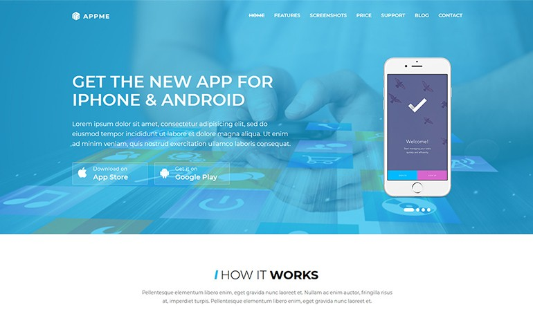 AppMe App Landing Page WordPress Theme