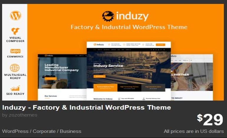 Induzy Factory Industrial WordPress Theme