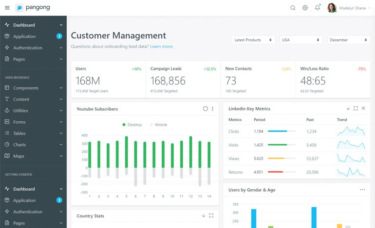 Pangong Developer friendly Bootstrap 4 Admin Dashboard Template