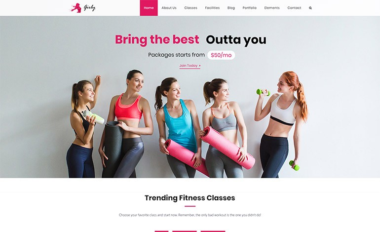 Girly Gym WordPress Theme