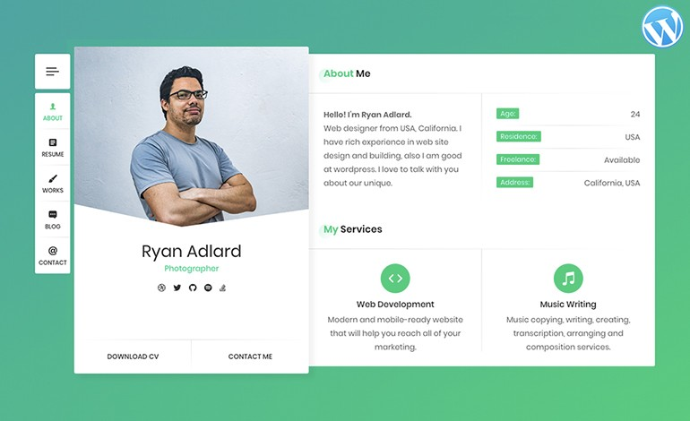 RyanCV Resume CV vCard WordPress Theme