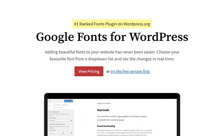 Google Fonts for WordPress