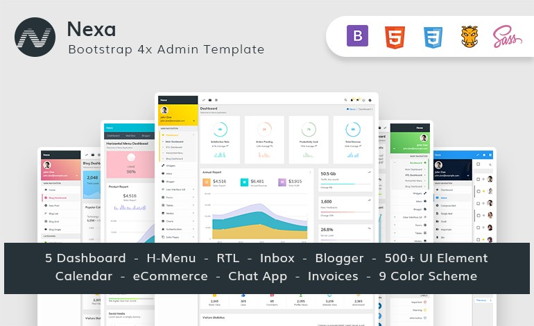 Nexa Bootstrap Material Design Admin Dashboard template