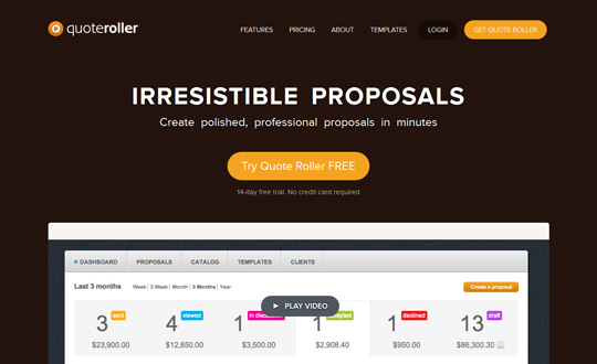 Quote Roller Awesome way to create send and track proposals