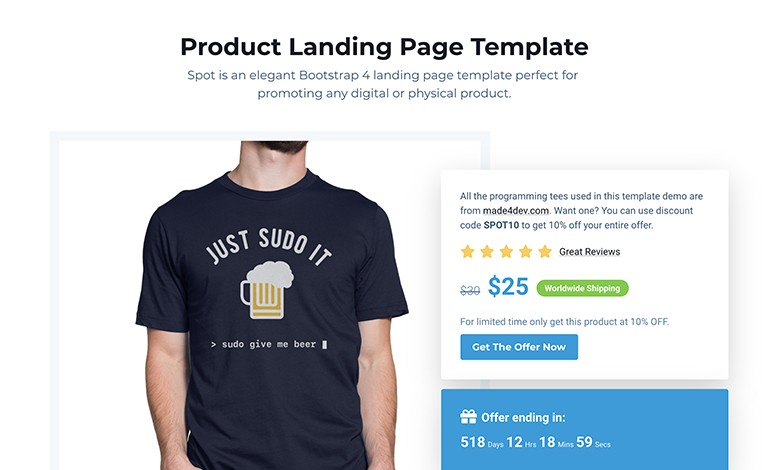 Spot FREE Product Landing Page Template