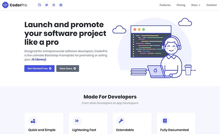 CoderPro Bootstrap Startup Theme