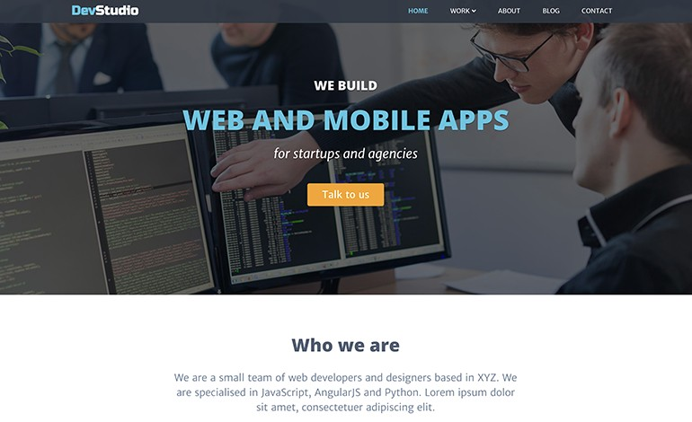 DevStudio Bootstrap 4 Theme For WebDev Businesses
