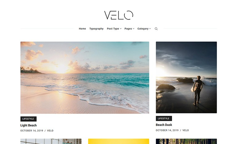 Velo Minimal Blog WordPress Theme