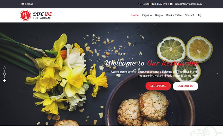Cafe Biz Restaurant Food WordPress Theme