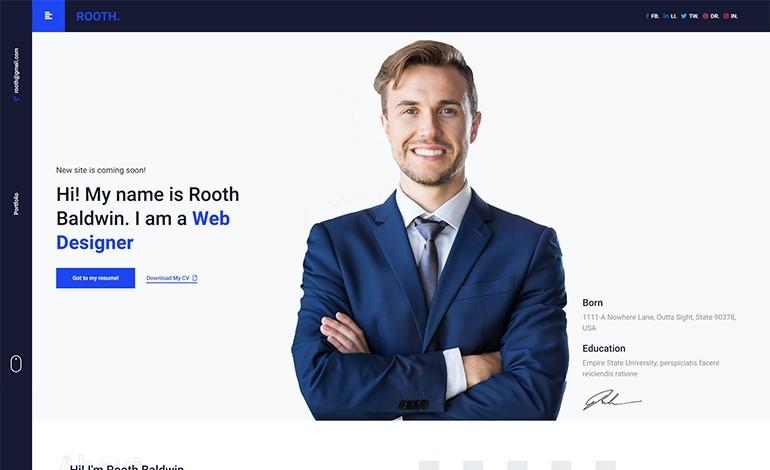 Rooth Premium vCard Resume CV Portfolio HTML Template