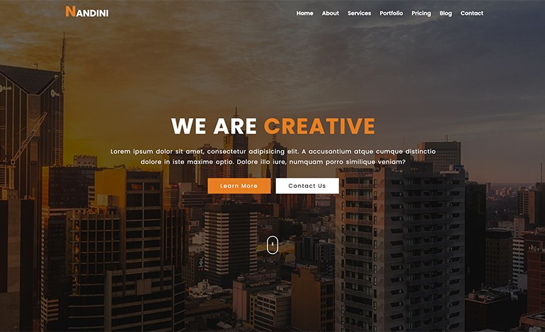 Nandini One Page Business HTML Template