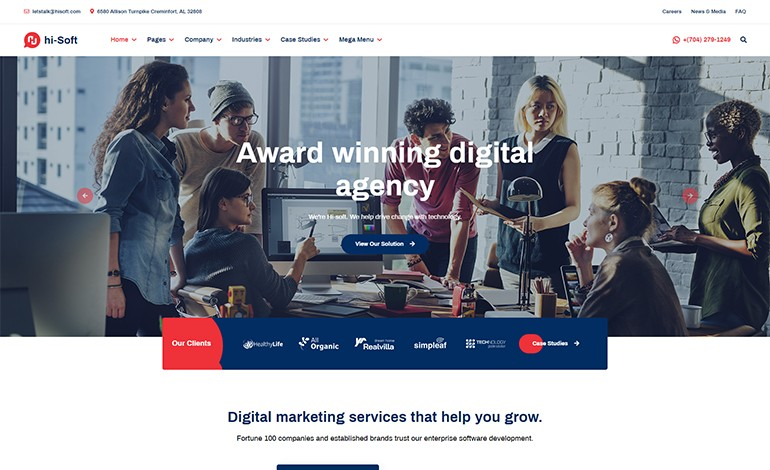 hi Soft IT Solutions and Services Company HTML5 Template