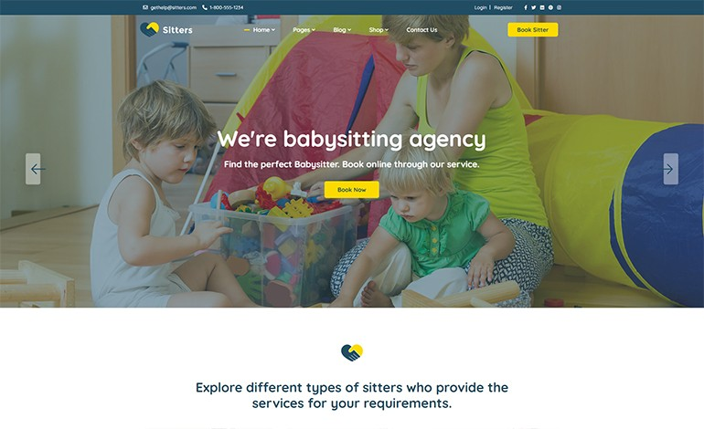 Sitters Baby Sitter and Pet Sitter and Senior Care HTML5 Template