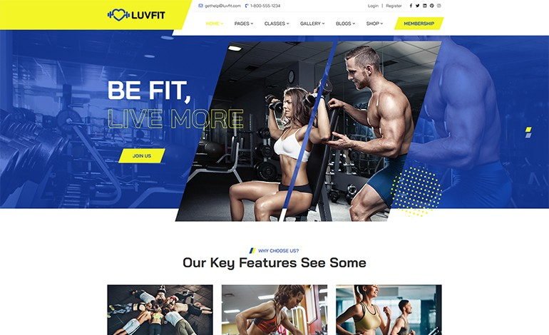 LUVFIT Gym Trainer and Fitness HTML5 Template
