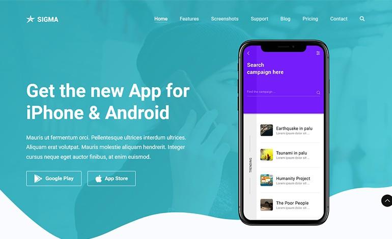 Sigma App Landing Page Template