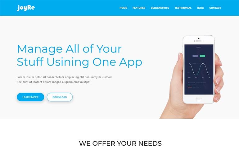 JoyRe Responsive App Landing Page