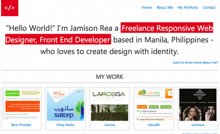 Jamison Rea a Freelance Web Dsigner, Front-end Developer