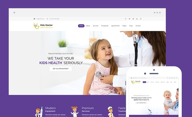 Kids Doctor Lite Free Medical WordPress Theme for Pediatricians