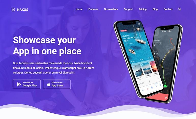 Naxos App Landing Page WordPress Theme