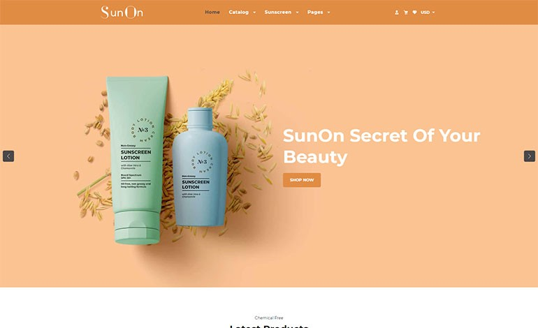 SunOn  Skin Care Products Shopify Theme
